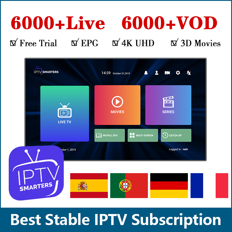 IPTV France 6000 HD Live Subscription Android Europe French Spanish Italia Sweden Germany Portugal IPTV M3u Smart TV IP TV