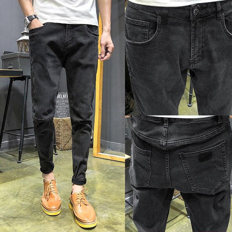 Men Jeans Men's Popular Brand Slim Fit Pants Spring Summer Thin Section 9 Points Korean-style Trend Light Color Casual Capri Pan