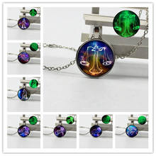 New 12 Constellation Luminous Crystal Glass Pendant Necklace Mens Gift Jewelry