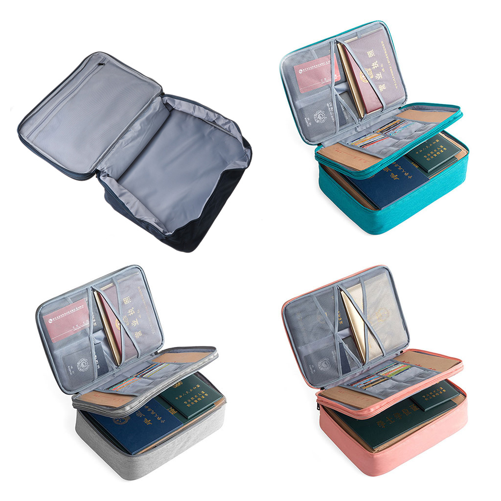Brand New High Quality Double Layer Document Ticket Bag Zipper Storage Large Capacity Certificates Files Organizer Home Travel