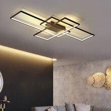 Neo brilho novo preto ou branco alumínio moderno led lustre para sala de estar quarto estudo sala AC85 265V lustre teto
