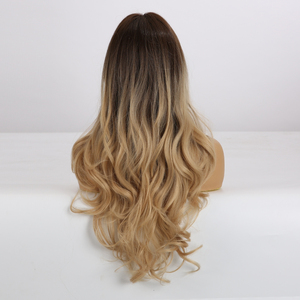 Image 2 - ALAN EATON Long Wavy Hair Wigs with Bangs Ombre Black Dark Brown Gloden Blonde Synthetic Wigs for Black Women Heat Resistant Wig