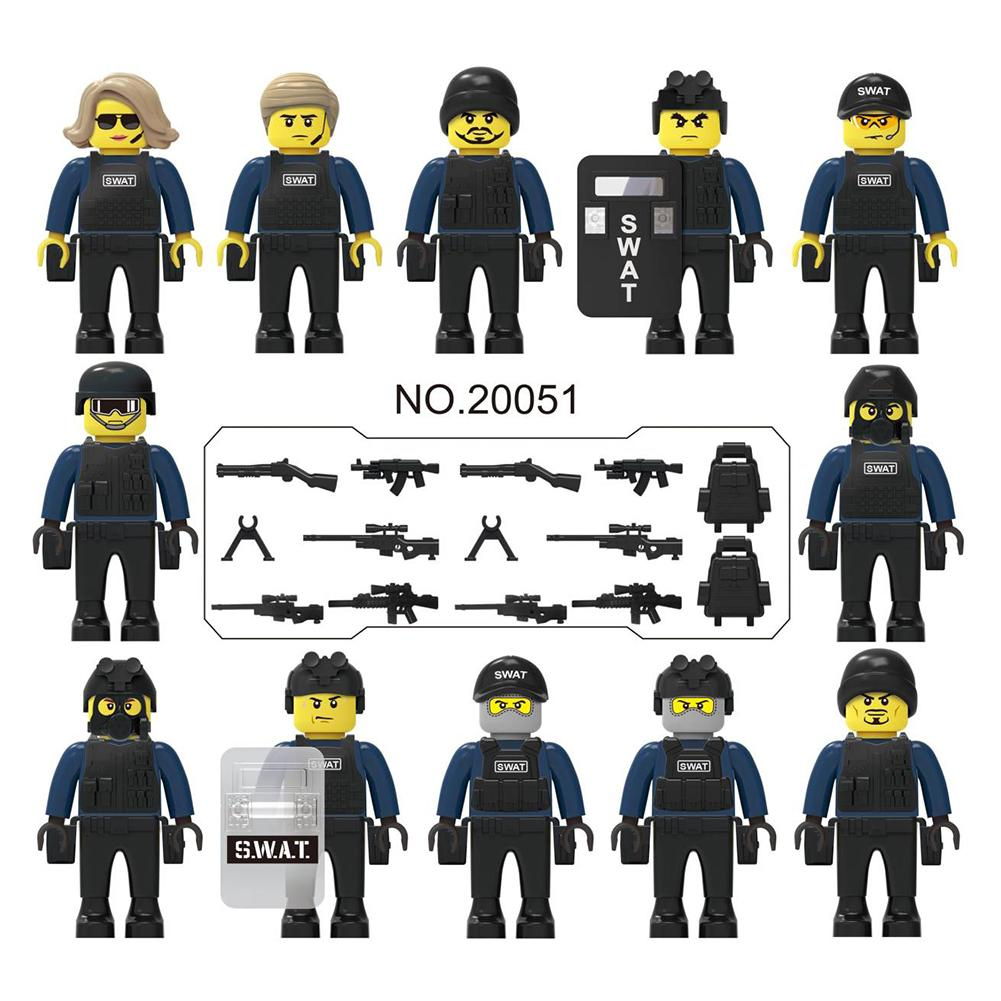 12PCS/Set Police City Dolls Armed Figures legoingly Building Blocks with A Variety of Shapes and Scenes for Children Kids Toys