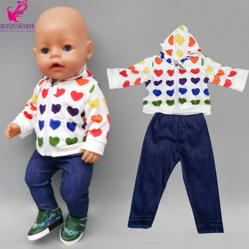 40cm Born Baby Doll Clothes Jacket Pants 18 Inch American Doll Clothes Trousers Dolls Coat