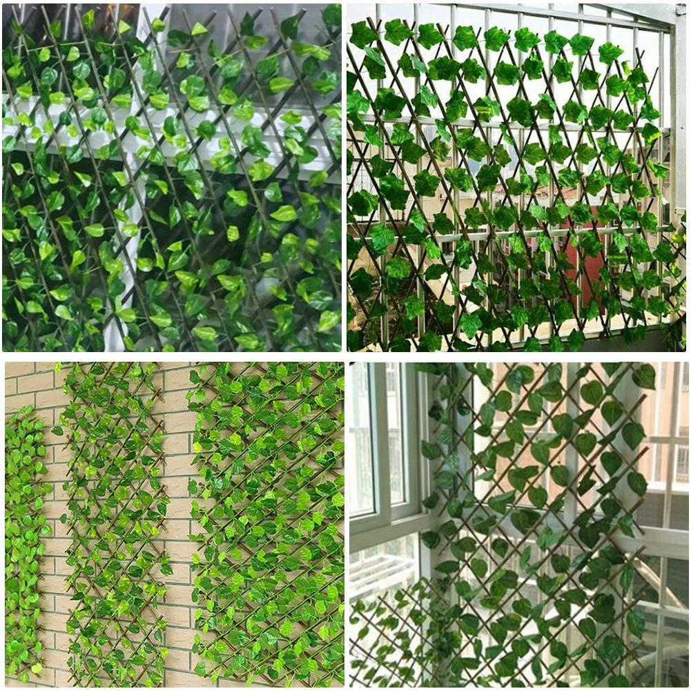 VIP Garden Fence Decoration Privacy Wood With Artificial Green Leaf Retractable Extension Fencing For Courtyard Home Decoration 3