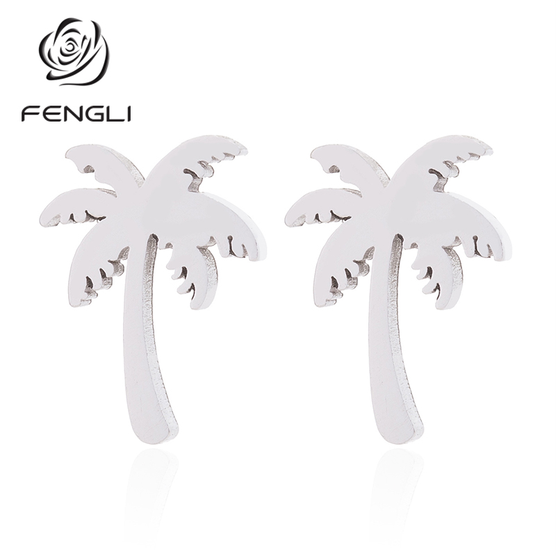 FENGLI Gold Silver Color Coconut Tree Earring Minimalist Tropical Stainless Steel Piercing Pendientes Party Gifts