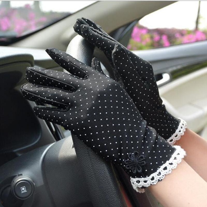 Women Gloves Short Driving Lace Sun-Protection Cotton Fashion Dot Anti-Skid Patchwork