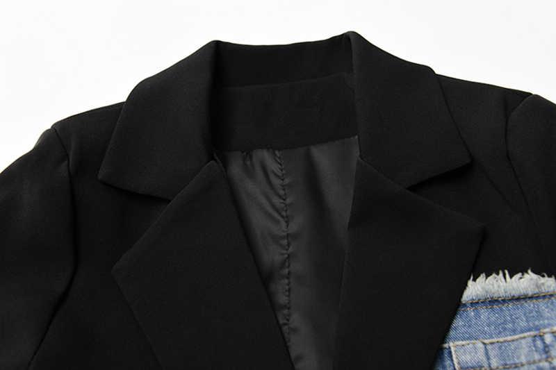 [EAM] Donne Nero Asimmetrico Denim Diviso Blazer Nuovo Risvolto Manica Lunga Loose Fit Giacca di Modo di Marea di Autunno della Molla 2020 1R731