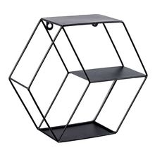 Hexagonal Geometric Iron Grid Wall Shelf Storage Frame Floating Shelves Hanging Figure Living Room Decoration Metal Rack Wire Ba