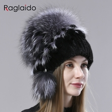 natural fur bomber hats for women winter fluffy stylish knitted mink fur hat with fox fur pompom ball hat snow female warm hat