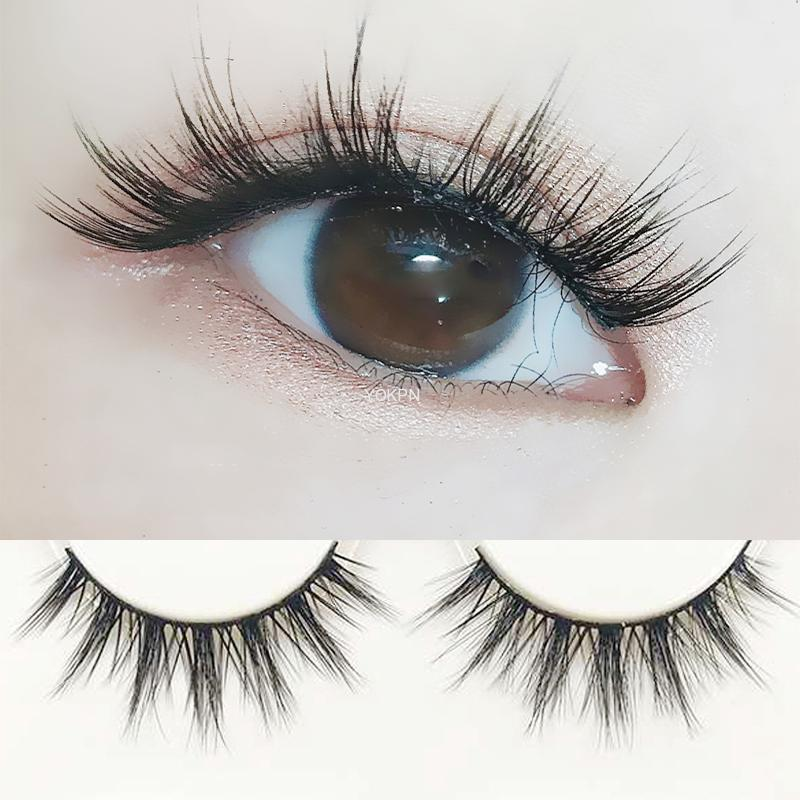 YOKPN 3D False Eyelashes Handmade Natural Cross False Eyelashes Japanese Cotton Thread Stem Nude Makeup Realistic Makeup Tools 1