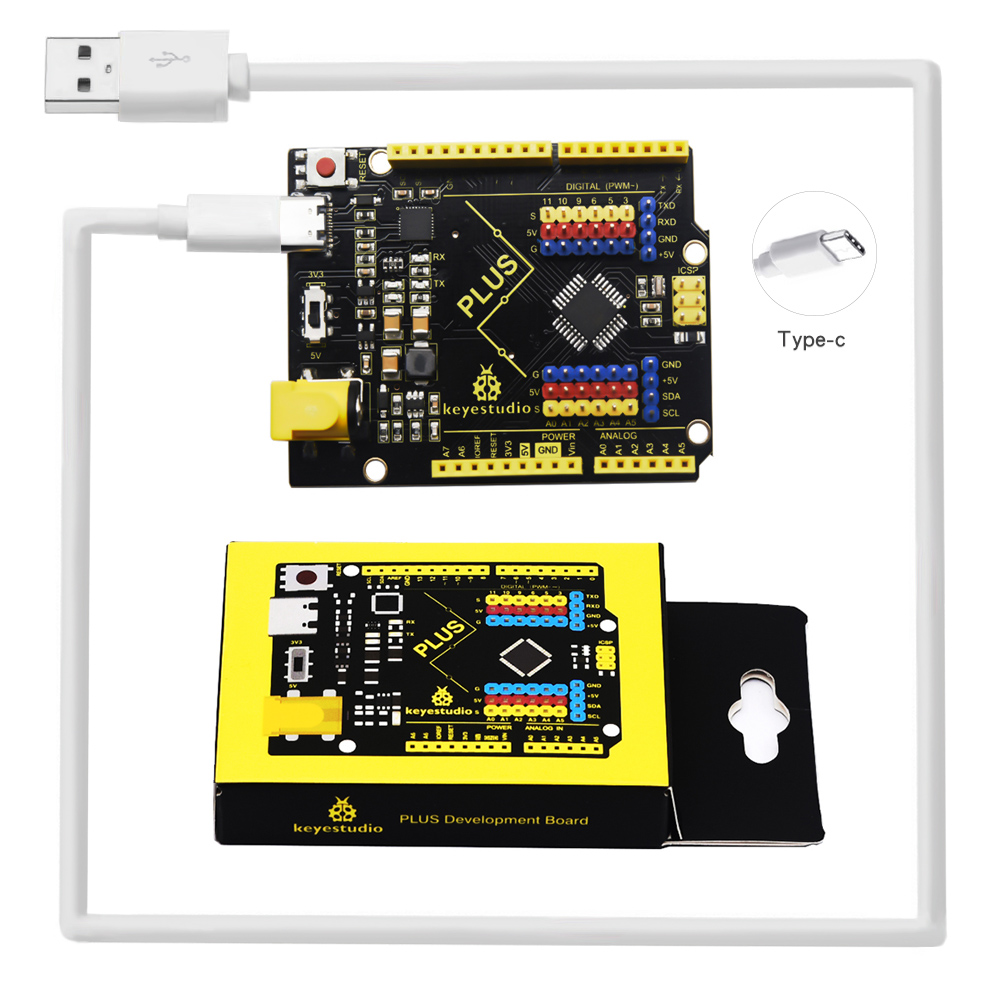 2020 New! Keyestudio PLUS Development Board With Type C Interface +USB Cable  Compatible With Arduino Uno R3