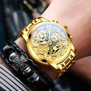 Image 3 - NEKTOM Wrist Watches Men Top Brand Luxury Golden Chronograph Mens Watch Gold Big Dial Man Wristwatch Relogio Masculino