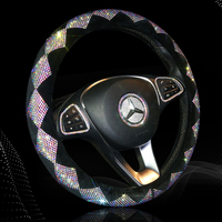 Bling Bling Diamond Car Steering Wheel Cover Colorful Crystal Steering Wheel Covers For Women Girls Car Accessories Interior