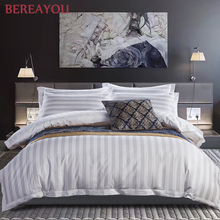 Luxury Bedding Sets Cotton White Stripe 40S/60S Hotel Single Double Full King Size For Kids Flat Bed Sheet Pilllowcase