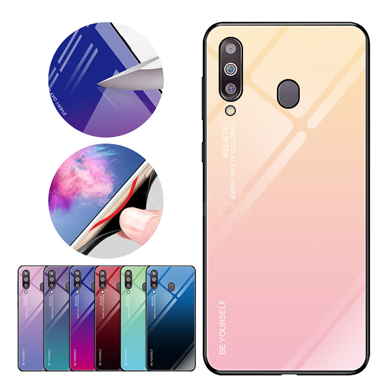Gradient Tempered Glass Phone Case For Samsung Galaxy A10 A20 A20E A30 A40 A50 A70 M20 A6 A8 A7 2018 J4 J6 Plus A9 Cover Cases