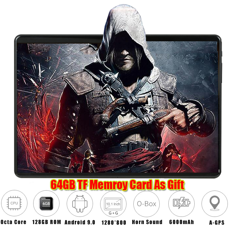 """6G+128GB Tempered Glass 2.5D 10 Inch Tablet PC Android 9.0 6GB RAM 128GB ROM 1280*800 IPS 3G 4G LTE Horn Loud Tablet 10 10.1"""""""