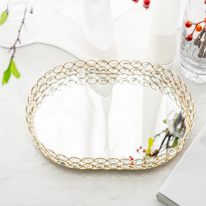 Europe Gold Crystal Mirror Tray Iron Jewelry Display Serving Platter Desktop Makeup Organizer Storage Trays Home Party Decor