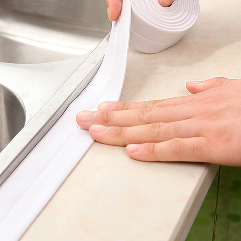 Self-Adhesive Sealing Tape Anti-Mildew Waterproof Edge Protector Decorative Caulk Strip For Bath Shower Floor Kitchen Stove Sink image