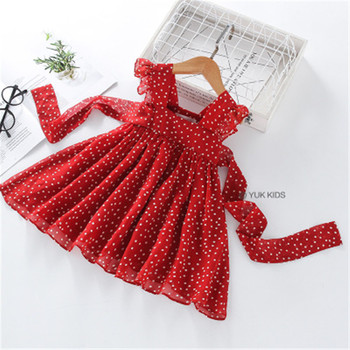 w l monsoon brand children s clothing girls dress europe and america floral children pleated princess dress cotton girl dress New Girls Dress Summer Girls Sleeveless Chiffon Polka Dot Dress Princess Dress Girl  Children Clothing