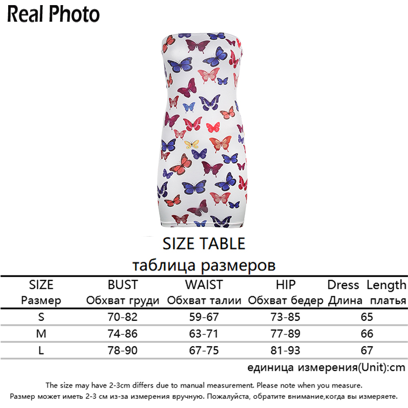 Rapwriter Off Shoulder Butterfly Print Strapless Sheath Dress Spring Women 2020 Summer Bodycon Backless Ladies Party Mini Dress 5