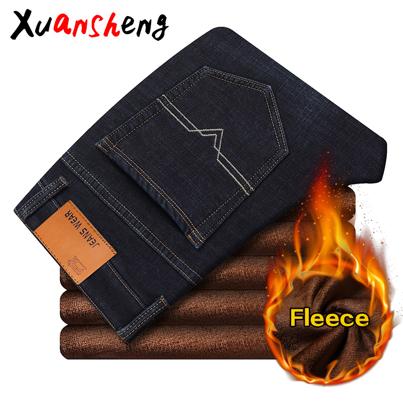 Xuansheng Fleece Warm Men's Jeans 2019 Straight Winter Classic Business Casual Thickening Stretch Brand Pants Blue Black Jeans