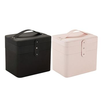 Torba na kosmetyki przenośna podróżna kosmetyczka na produkty do makijażu torba na kosmetyki Beauty Box dla kobiet pojemnik na kosmetyki pudełko z biżuterią organizer na kosmetyki pudełko do makijażu makijaż tanie i dobre opinie CN (pochodzenie) PU leather cotton cloth Nude pink black 26*23 4*17 8cm 10 2*9 2*7in