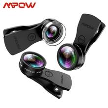 Mfe4 mpow 3 em 1 clip on kits de lente do telefone móvel 180 graus lente olho de peixe + 0.36x lente grande angular + 20x lente macro 3 lente separada
