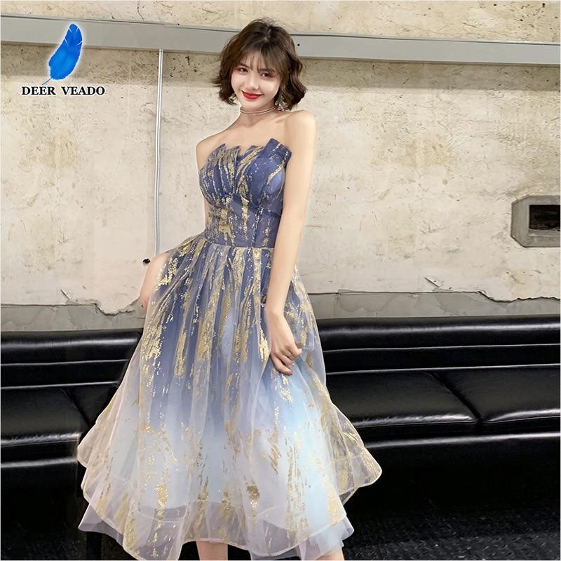 DEERVEADO MFY008 A Line Tea Length Blue Prom Dress 2020 Sexy Open Back Short Party Dress Prom Gown Robe De Soiree