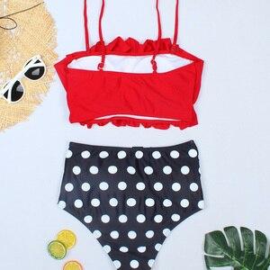 Image 5 - Riseado גבוהה מותן נשים ביקיני 2020 סקסי Bandeau בגדי ים נקבה Ruched בגדי ים ביקיני רחצה חליפות רצועת חוף ללבוש