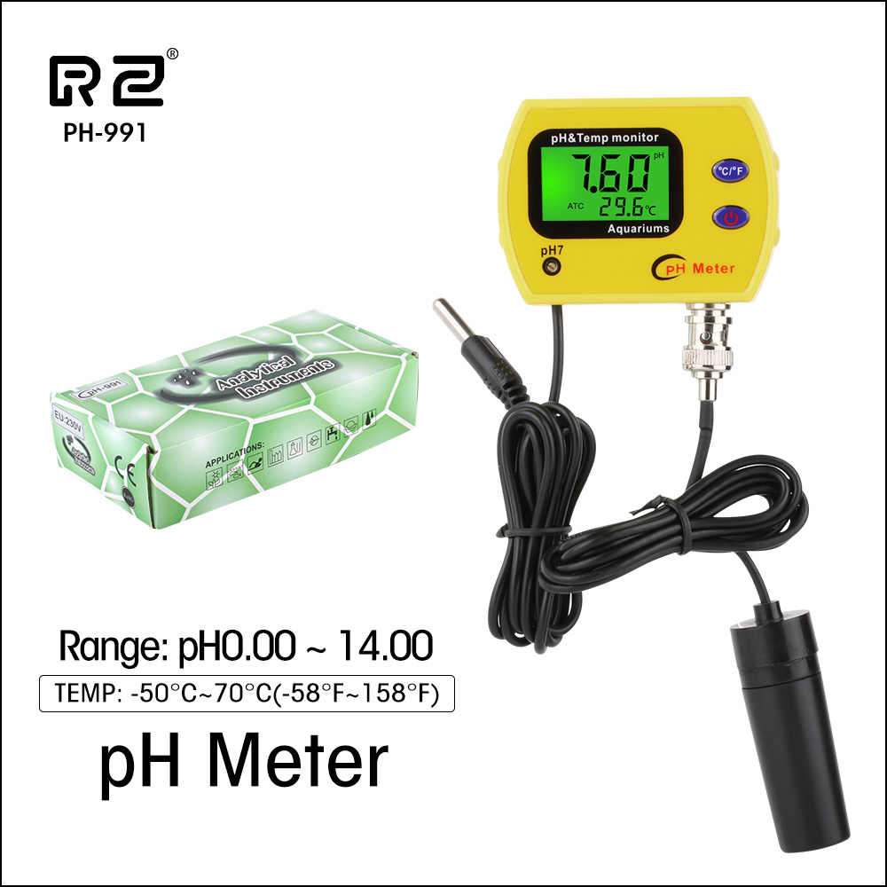 RZ PH Meter Tester Durable Acidimeter Tool Temp Water Quality Monitor For Aquarium Swim Pool Water PH-991With Backlight