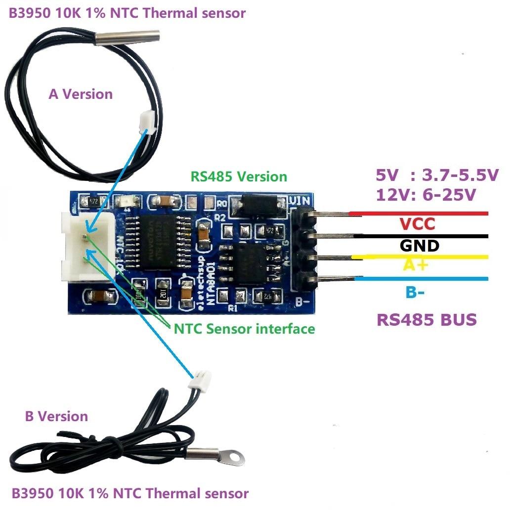 20 125 Цельсия RS485 TTL RS232 датчик температуры конвертер Модуль для 10K 3950 NTC Термистор резистор Замена DS18B20 PT100 Интегральные схемы      АлиЭкспресс