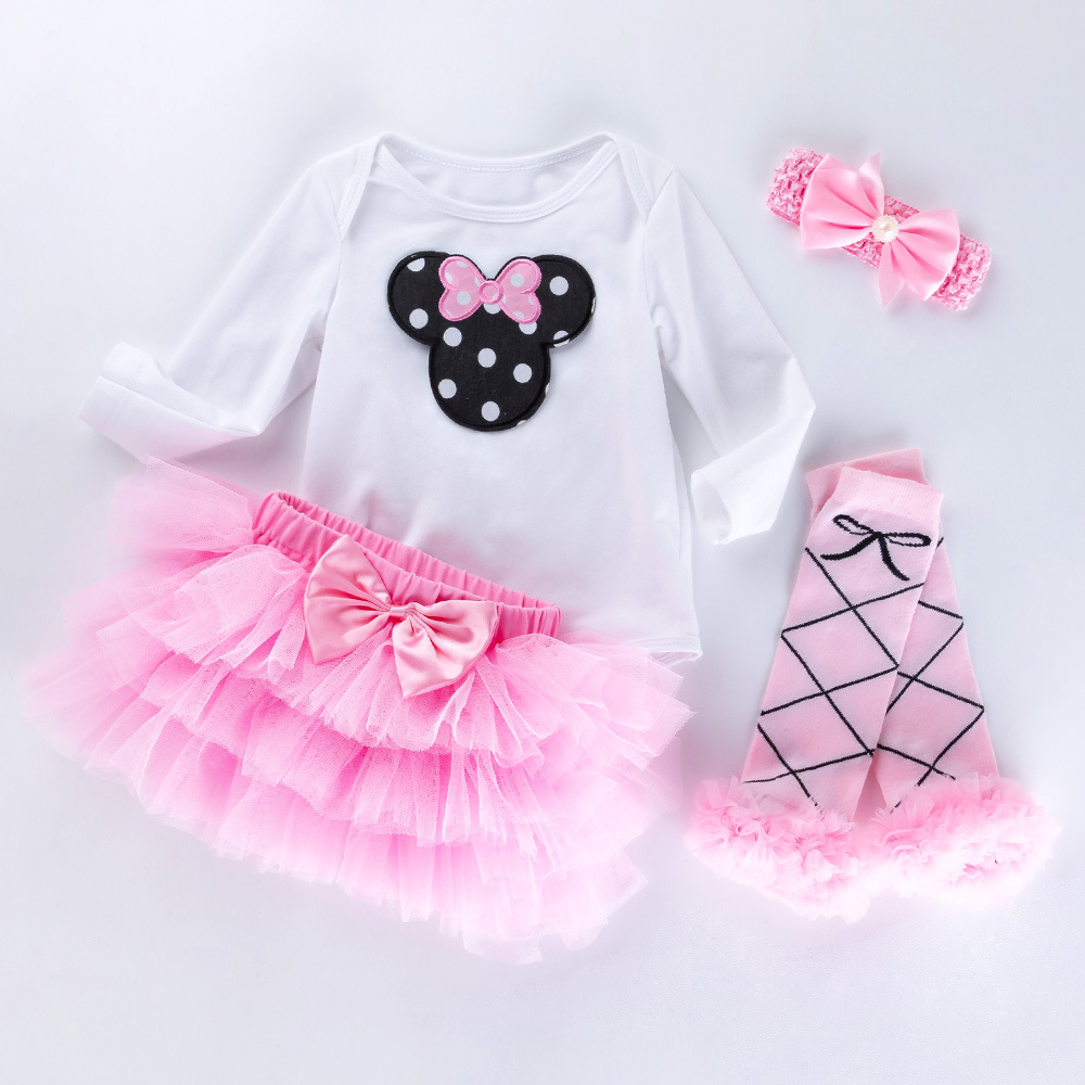 Cotton Fashion Baby Girl Clothes Sets white Long Sleeve Romper Dot Tutu Skirts Headband Shoes Infant Clothing 0-2years Baby Suit