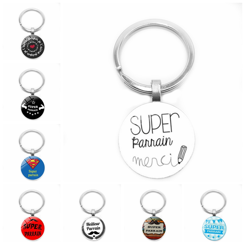 2019 New Super Parrain Letter Elements Plus Various Patterns To Form The Badge Glass Cabochon Keychain, Classic Series Keychain