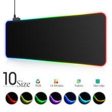 Luminária led mousepad rgb, capa para teclado de mesa colorida superfície mouse pad à prova d' água multi-tamanho do mundo computador gamer cs dota