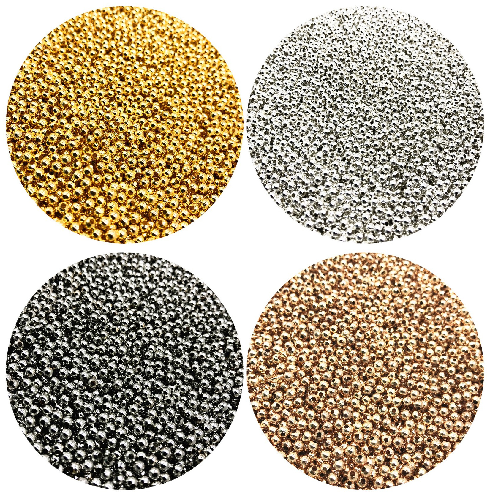 500/200/50pcs 2/4/6mm Gold/Gun black/Bronze Tone Metal Beads Smooth Ball Spacer Beads For Jewelry Making DIY Bracelet Necklace(China)