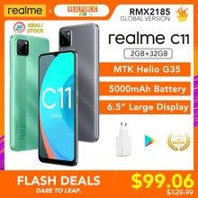 Realme C11 2GB RAM 32GB ROM Globale Version Helio G35 5000mAh Batterie 3 Kameras 3 Karte Slot unterstützung Multi Sprache Play Store