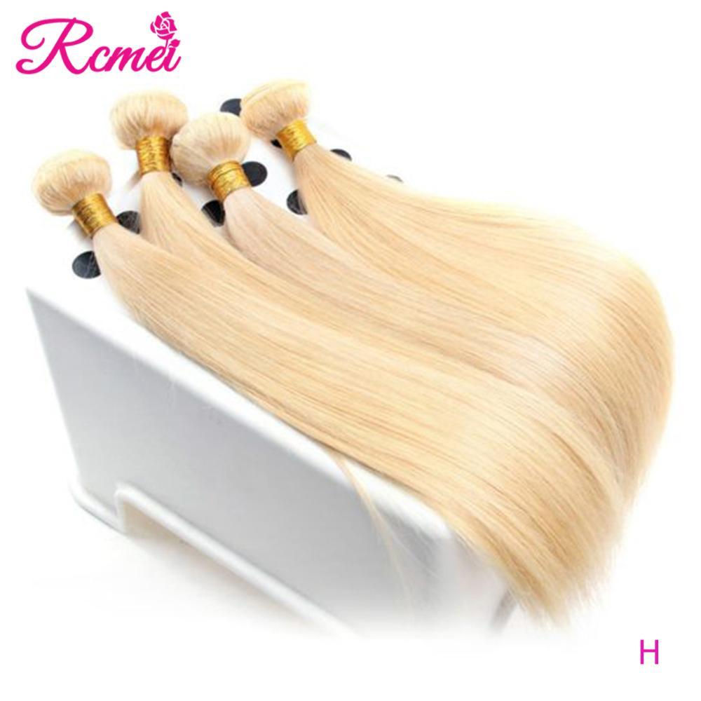 613 mel loira 1/3/4 pacote de cabelo brasileiro tecer em linha reta 100% remy trama do cabelo humano 26 28 30 32 Polegada frete grátis cabelo rcmei
