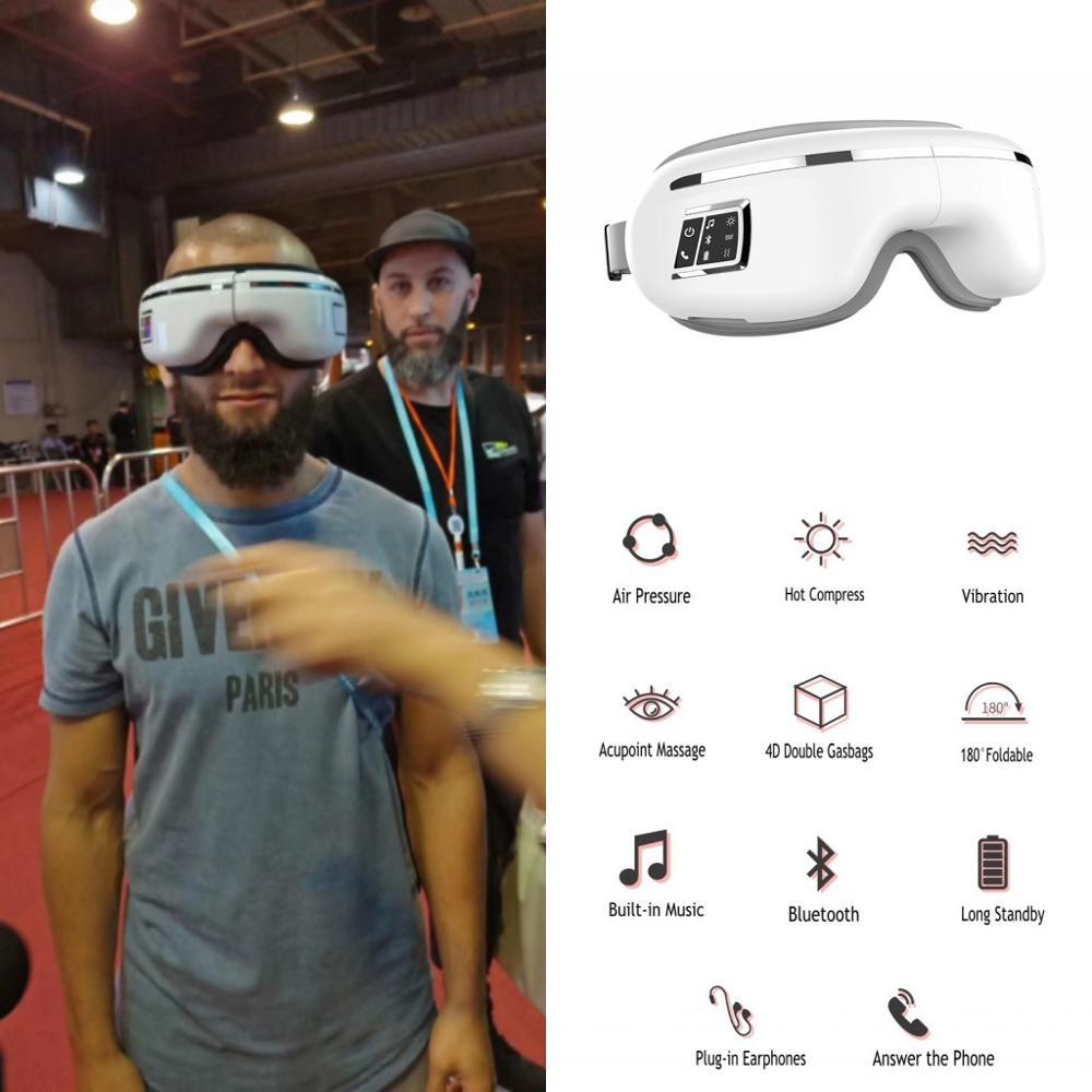 Eye Massage Machine Wireless Bluetooth Smart Sleep Mask Hot Compress Vibration Relax Heated Massager Music Play Answer Phone