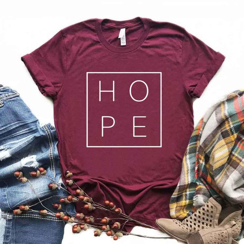 HOPE Square Print Women Tshirt Cotton Casual Funny T Shirt Gift For Lady Yong Girl Top Tee 6 Color Drop Ship S-992