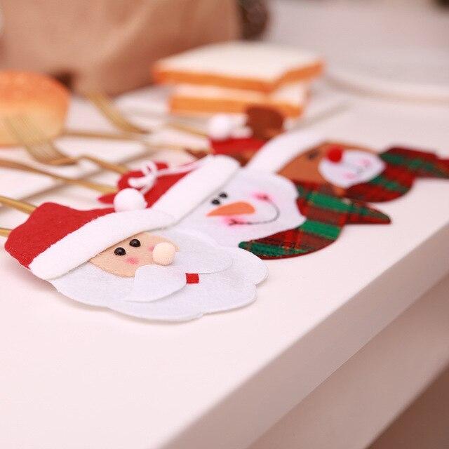 Sckday noël vaisselle décor poche père noël bonhomme de neige elk couteau fourchette sac Table décorer couverts couverture Festival décoration
