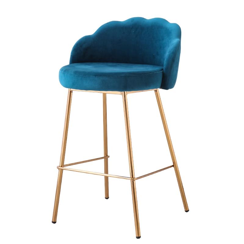 Bar Chair Light Luxury Modern Simple Fabric Soft Bag   High Stool American Restaurant Front Desk    Back
