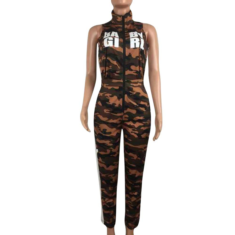 Monos largos de camuflaje de verano ropa deportiva de mujer con cremallera de cuello alto monos de mujer monos de Fitness para mujer ropa de calle nuevo