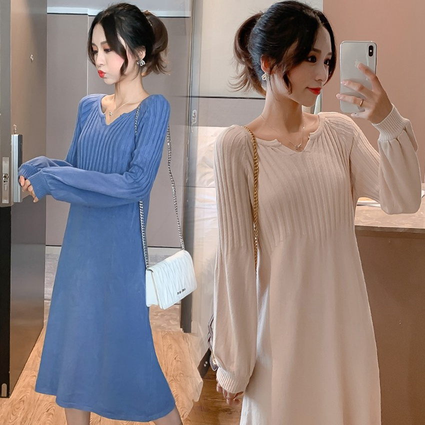 Chandail mi-long automne et hiver nouveau chandail chandail lâche grande taille robe en tricot chandail de maternité