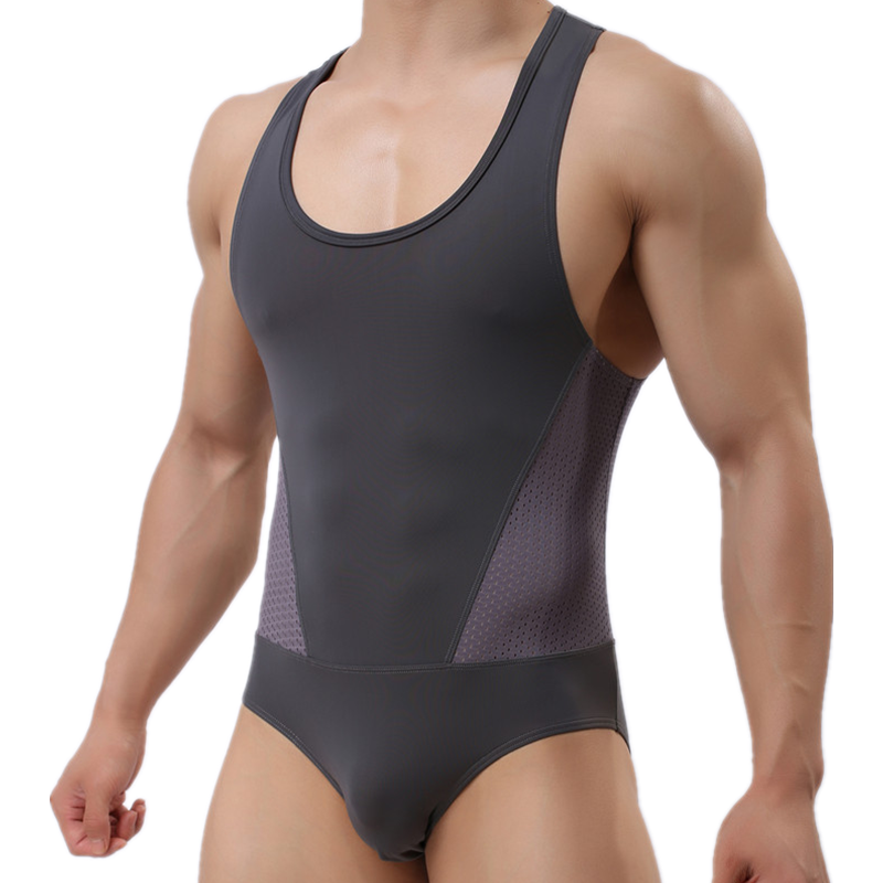 BRAVE PERSON brand mens undershirt sexy underwear spandex mesh tank tops men bodysuit undershirt jumpsuit shorts
