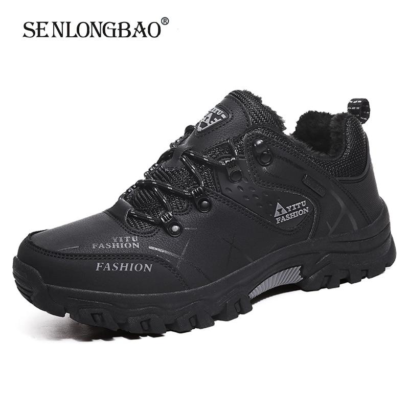 Мужские плюшевые ботинки на шнуровке, Теплые повседневные уличные ботинки для походов, Нескользящие ботильоны, размеры 39-47, Осень-зима