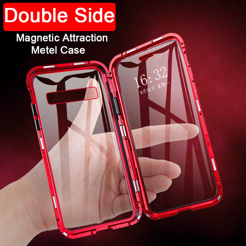 Magnetic adsorption Magnet Phone Coque Case For Samsung Galaxy S10 Lite S9 S8 Plus Note 10 Pro A50 A60 A70 Double tempered glass