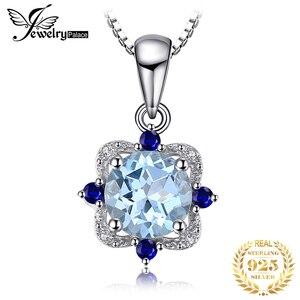 Image 1 - Collier pendentif en topaze bleue naturelle bijourypalace 925 pierres précieuses en argent Sterling collier ras du cou déclarati
