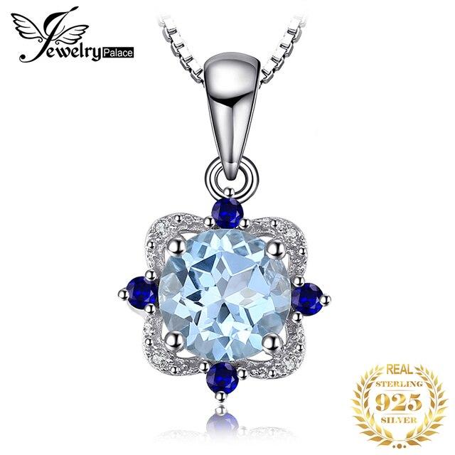JewelryPalace doğal mavi Topaz kolye kolye 925 ayar gümüş taşlar gerdanlık bildirimi kolye kadınlar zinciri olmadan