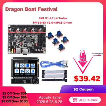 цена на BIGTREETECH BTT SKR V1.4 Turbo SKR V1.4 Control Board+TFT35-E3 V3.0 LCD TMC2208 TMC2209 Driver MKS GEN L Ender3 3D Printer Parts